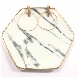 Gold Minimalist Dangle Hoop Line Boutique Earrings